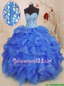 Sexy Royal Blue Ball Gowns Organza Sweetheart Sleeveless Beading and Ruffles Floor Length Lace Up Sweet 16 Quinceanera Dress