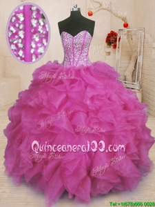 Popular Sweetheart Sleeveless Organza Ball Gown Prom Dress Beading and Ruffles Lace Up