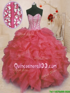 Classical Sweetheart Sleeveless Lace Up Ball Gown Prom Dress Coral Red Organza