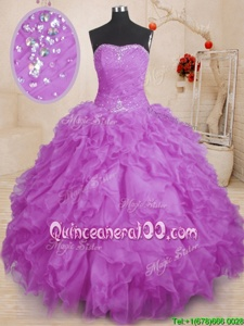 Spectacular Sleeveless Organza Floor Length Lace Up Quinceanera Dress inPurple forSpring and Summer and Fall and Winter withBeading and Ruffles and Ruching