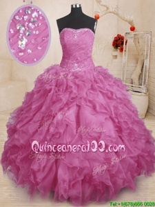 Pretty Lilac Lace Up Quinceanera Dress Beading and Ruffles and Ruching Sleeveless Floor Length