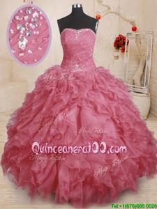 Glorious Pink Sleeveless Organza Lace Up Sweet 16 Quinceanera Dress forMilitary Ball and Sweet 16 and Quinceanera