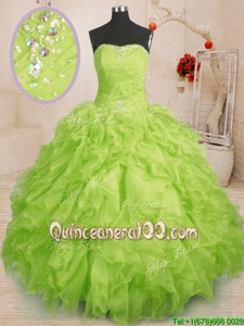 Hot Sale Sleeveless Organza Floor Length Lace Up Sweet 16 Dresses inYellow Green forSpring and Summer and Fall and Winter withBeading and Ruffles and Ruching