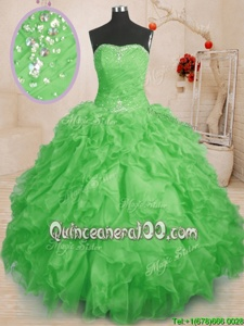 Cheap Floor Length Spring Green Sweet 16 Dresses Organza Sleeveless Spring and Summer and Fall and Winter Beading and Ruffles and Ruching
