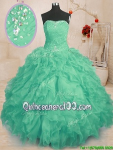 Turquoise Strapless Neckline Beading and Ruffles and Ruching Sweet 16 Quinceanera Dress Sleeveless Lace Up