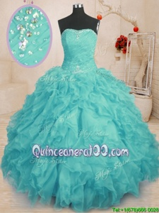 Discount Floor Length Lace Up Quinceanera Dresses Aqua Blue and In forMilitary Ball and Sweet 16 and Quinceanera withBeading and Ruffles