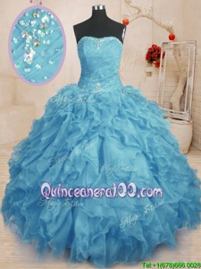 Modest Sleeveless Floor Length Beading and Ruffles and Ruching Lace Up Quinceanera Gowns with Baby Blue