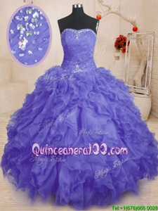 Sleeveless Beading and Ruffles and Ruching Lace Up 15 Quinceanera Dress