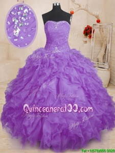Nice Spring and Fall and Winter Organza Sleeveless Floor Length Quinceanera Gown andBeading and Ruffles and Ruching