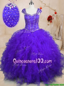 Sequins Floor Length Purple Ball Gown Prom Dress Square Cap Sleeves Lace Up