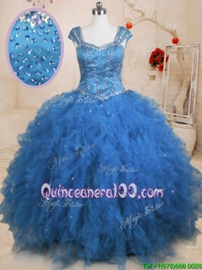 Spectacular Cap Sleeves Beading and Ruffles and Sequins Lace Up Quinceanera Gown
