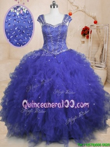 Best Sequins Floor Length Ball Gowns Cap Sleeves Royal Blue Quince Ball Gowns Lace Up