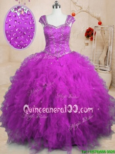 Shining Square Cap Sleeves Lace Up Quinceanera Gown Purple Tulle