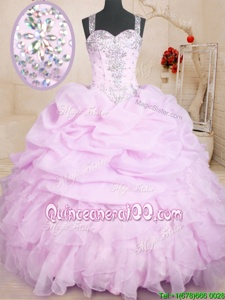 Custom Design Lilac Sleeveless Floor Length Beading and Ruffles and Pick Ups Lace Up 15 Quinceanera Dress