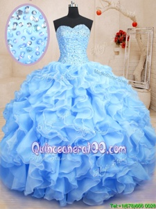 Pretty Blue Sweet 16 Quinceanera Dress Military Ball and Sweet 16 and Quinceanera and For withBeading and Ruffles Sweetheart Sleeveless Lace Up