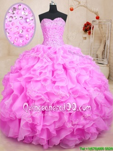 Modest Lilac Organza Lace Up Sweet 16 Quinceanera Dress Sleeveless Floor Length Beading and Ruffles