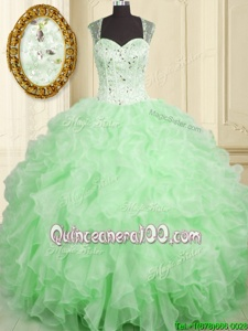 Fashionable Spring Green Quinceanera Dress Military Ball and Sweet 16 and Quinceanera and For withBeading and Ruffles Straps Sleeveless Lace Up
