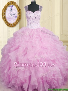 Super Lilac Ball Gowns Beading and Ruffles Quinceanera Gown Zipper Organza Sleeveless Floor Length