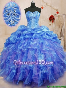Blue Lace Up Sweetheart Beading and Ruffles Quinceanera Dress Organza Sleeveless