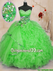 Romantic Sleeveless Lace Up Floor Length Beading and Ruffles Quinceanera Gown