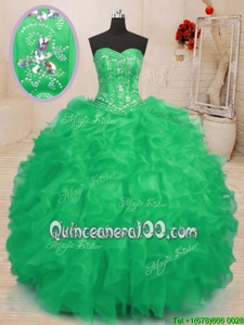 Stylish Sweetheart Sleeveless Organza Quinceanera Gowns Beading and Ruffles Lace Up