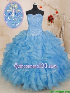 Fancy Floor Length Lace Up Ball Gown Prom Dress Blue and In forMilitary Ball and Sweet 16 and Quinceanera withBeading and Ruffles