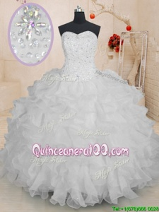 Eye-catching Ball Gowns Sweet 16 Dress White Sweetheart Organza Sleeveless Floor Length Lace Up
