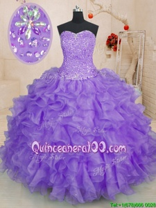 Smart Lavender Ball Gowns Beading and Ruffles Quince Ball Gowns Lace Up Organza Sleeveless Floor Length