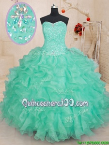 Custom Design Sleeveless Organza Floor Length Lace Up Quinceanera Gown inApple Green forSpring and Summer and Fall and Winter withBeading and Ruffles
