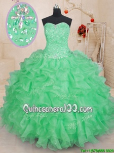 Excellent Green Organza Lace Up Sweetheart Sleeveless Floor Length Sweet 16 Dresses Beading and Ruffles
