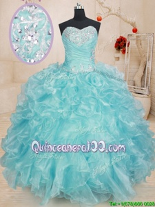Stunning Blue Lace Up Vestidos de Quinceanera Beading and Ruffles Sleeveless Floor Length