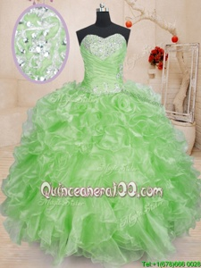 Vintage Spring Green Ball Gowns Sweetheart Sleeveless Organza Floor Length Lace Up Beading and Ruffles Sweet 16 Dresses