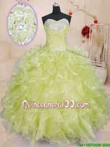 High Class Sweetheart Sleeveless Sweet 16 Dresses Floor Length Beading and Ruffles Yellow Green Organza