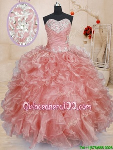 Glamorous Ball Gowns Quince Ball Gowns Watermelon Red Sweetheart Organza Sleeveless Floor Length Lace Up