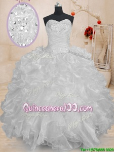 Chic Floor Length White Sweet 16 Dress Organza Sleeveless Spring and Summer and Fall and Winter Beading and Ruffles