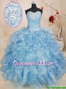 Fabulous Sweetheart Sleeveless 15 Quinceanera Dress Floor Length Beading and Ruffles Blue Organza
