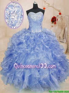 Purple Ball Gowns Sweetheart Sleeveless Organza Floor Length Zipper Beading and Ruffles Quinceanera Dresses