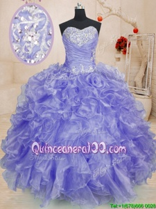Fitting Lavender Organza Lace Up Sweetheart Long Sleeves Floor Length Quince Ball Gowns Beading and Ruffles