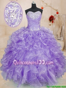 Flare Lavender Sweetheart Lace Up Beading and Ruffles Ball Gown Prom Dress Sleeveless