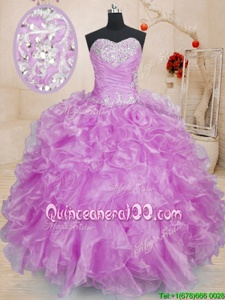 High End Lilac Lace Up Ball Gown Prom Dress Beading and Ruffles Sleeveless Floor Length