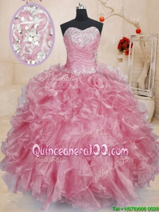 Modern Floor Length Ball Gowns Sleeveless Pink Quinceanera Dress Lace Up