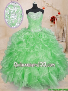 Discount Spring Green Ball Gowns Sweetheart Sleeveless Organza Floor Length Lace Up Beading and Ruffles Sweet 16 Dresses