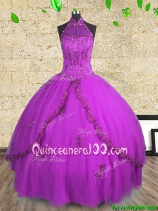 Clearance Halter Top Spring and Summer and Fall and Winter Tulle Sleeveless Floor Length 15th Birthday Dress andBeading