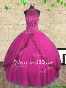 Noble Halter Top Fuchsia Sleeveless Beading Floor Length Quinceanera Gowns
