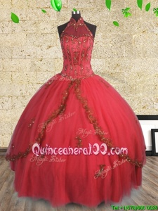 Hot Selling Red Vestidos de Quinceanera Military Ball and Sweet 16 and Quinceanera and For withBeading Halter Top Sleeveless Lace Up