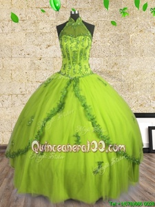 Fashionable Halter Top Floor Length Lace Up Quinceanera Dress Yellow Green and In forMilitary Ball and Sweet 16 and Quinceanera withBeading