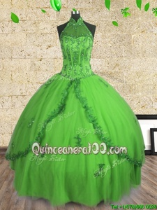 Spring Green Lace Up Halter Top Beading 15th Birthday Dress Tulle Sleeveless