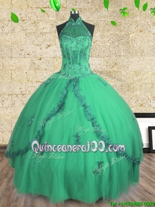 Eye-catching Halter Top Floor Length Ball Gowns Sleeveless Turquoise Sweet 16 Dress Lace Up