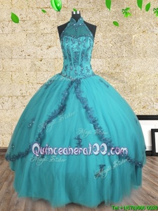 Dynamic Halter Top Teal Sleeveless Beading Floor Length Sweet 16 Dresses