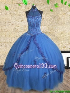 Beautiful Halter Top Blue Sleeveless Floor Length Beading Lace Up Ball Gown Prom Dress